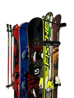 StoreYourBoard Omni Ski Wall Storage Rack | Holds 10 Pairs | Ski Wall Mount Home & Garage St ...