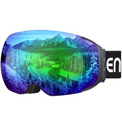 Enkeeo Ski Goggles Detachable Dual Layer Anti-Fog Lens 100% UV400 Protection, Bendable Frame, An ...