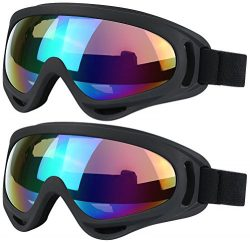 Ski Goggles, 2 Pack Snowboard Goggles Skate Glasses, Motorcycle Cycling Goggles for Kids, Boys & ...