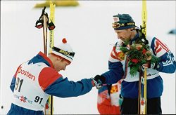 Vintage photo of Ski World Cup in Trondheim. Men's 30 km free style. Bj248;rn D230;hlie con ...