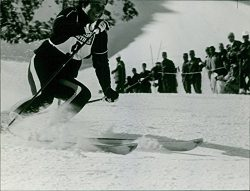 Vintage photo of French skier Marielle Goitschel in a downhill ski event.