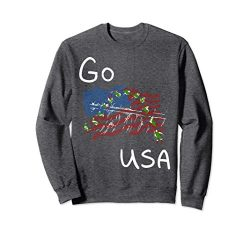 Unisex Freestyle skiing Ski Sport Go USA Sweatshirt Large Dark Heather