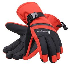 Andorra Men's Cross Country Textured Touchscreen Ski Gloves with Zippered,Red,M