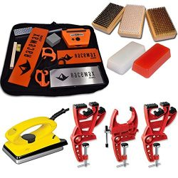 Ski Tune+ Race Kit with 3 Piece Vise, Iron, 3 Brushes Tools Wax