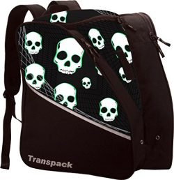 Transpack Edge Junior Kids Ski/Snowboard Boot Bag – Black/Green Skull