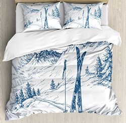 Ambesonne Winter Duvet Cover Set King Size by, Sketchy Graphic of a Downhill with Ski Elements i ...