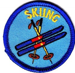 """SKIING"" w/SKIS & POLES-Iron On Embroidered Patch-Ski, Winter Sports, Words,Snow"