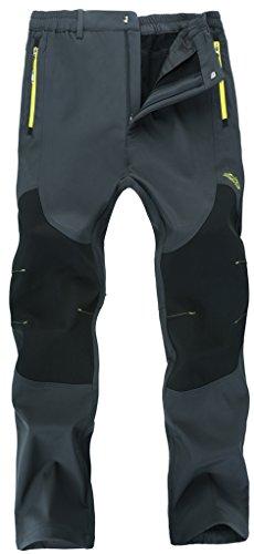 Singbring Men's Outdoor Windproof Hiking Pants Waterproof Ski Pants Large Gray(606F)