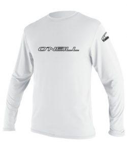 O'Neill Wetsuits Men's Basic Skins UPF 50+ Long Sleeve Sun Shirt, White, Large