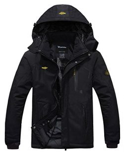 Wantdo Men's Waterproof Mountain Jacket Fleece Windproof Ski Jacket US L  Black L