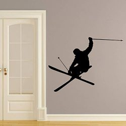 Wall Decals Skiing Skier Snow Ski Skiing Freestyle Jumping Extreme Sports Winter Gift Kids Nurse ...