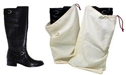 Earthwise Boot Shoe Bag 100% Cotton MADE IN THE USA with Drawstring for storing and protecting b ...