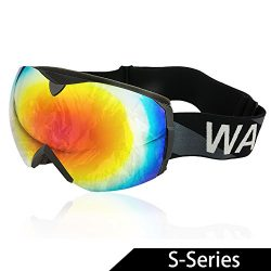 WACOOL Multicolor Professional Snowmobile Snowboard Skate Ski Goggles with Detachable Double Len ...