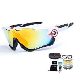 toptetn Polarized Sports Sunglasses with 5 Interchangeable Lenses UV400 Protection Cycling Glass ...