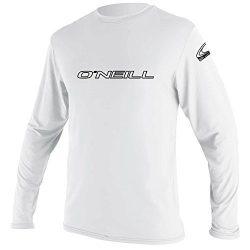 O'Neill Wetsuits Men's Basic Skins UPF 50+ Long Sleeve Sun Shirt, White, X-Large
