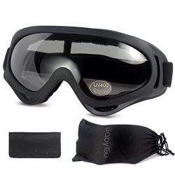 Ski Goggles Skiing Sonwboard Goggles For Men Women & Youth With 100% UV Protection, Black