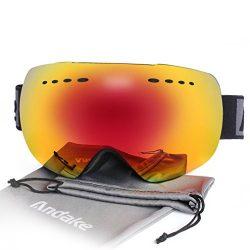 Andake Ski Goggles, Anti-fog 100% UV400 Protection Mirrored Lens Snowboard Snow Goggles Helmet C ...