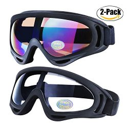 Ski Goggles, Outgeek 2-Pack Skate Glasses with UV 400 Protection Windproof and Dustproof for Sno ...