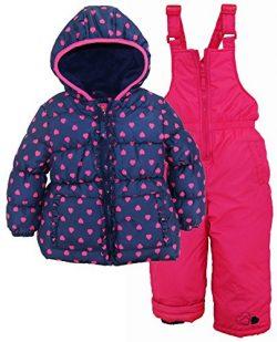Pink Platinum Toddler Girls' Printed Super Snowsuit, Navy Heart, 2T