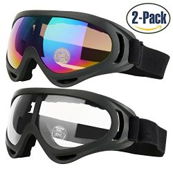 Ski Goggles, Pack of 2, Snowboard Goggles for Kids, Boys & Girls, Youth, Men & Women, wi ...