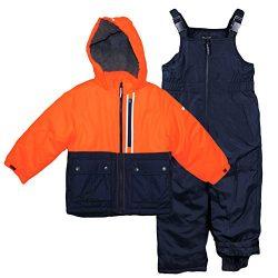 Osh Kosh Toddler Boys' Ski Jacket and Snowbib Snowsuit Set, Orange/Navy, 3T