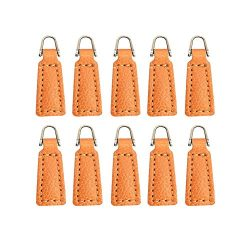 Z-COLOR 10 pack Leather Zipper Pull For Boot/Jacket/Bag/Purse Replacement and Production (Yellow)
