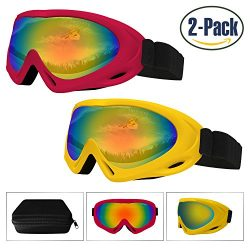 Ski Goggles 2 Pack,Snowboard Goggle for Kids,Boys,Girls,Youth,Men,Women,with UV 400 Protection,W ...