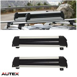 "AUTEX 22"" Aluminum Universal Roof Mounted Ski Snowboard Carrier Rack (Pack of 2)"