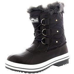 Womens Snow Boot Nylon Short Fur Rain Winter Waterproof Snow Warm Boots – Gray – 7 & ...