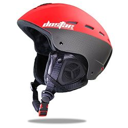 Dostar Adult Youth Ski Snow Sports Helmet with the warm Fleece Liner (Red, M)