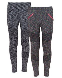 Real Love Girl's 2 Pack Athletic Moto Fleece Lined Pants With Zipper, Charcoal/Grey, Size  ...