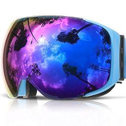 Ski Goggles,COPOZZ G2 Magnetic Ski Snowboard Snow Goggles – Quick Interchangeable Double L ...