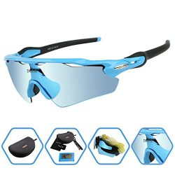 DUCO POLARIZED Sports Sunglasses UV400 Protection Cycling Glasses With 5 Interchangeable Lenses  ...