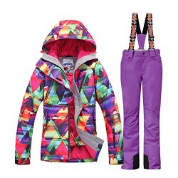 HOTIAN Women's High Windproof Technology Colorful Printed Snowboard Clothing Ski Jacket an ...