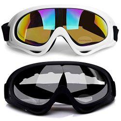 2Pcs Ski Goggles, Snowboard Skate Goggles UV Protective Cycling Goggles Combat Goggles for Skiin ...