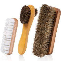 TAKAVU Horsehair Shoe Shine Brush Set – 3 Different Shapes & Sizes – Premium Hor ...