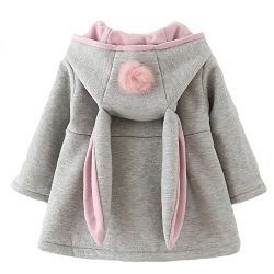 Baby Girl's Toddler Fall Winter Coat Jacket Outerwear Ears Hoodie(10,Grey)