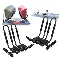 Ediors 2 Pairs J-Bar Rack HD Kayak Carrier Canoe Boat Surf Ski Roof Top Mount Car SUV Crossbar