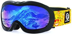 Picador Kids Ski Goggles With Excellent Impact Resistance Anti-Fog Lens 100% UV Protection (Black2)