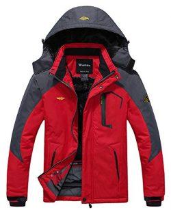 Wantdo Men's Waterproof Mountain Jacket Fleece Windproof Ski Jacket US L  Red L