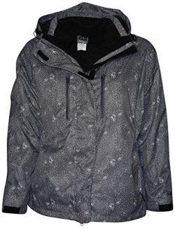 Pulse Women's Plus Extended Size 3in1 Boundary Snow Ski Jacket Coat (3X (24), Black Zig)