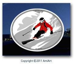 SKI sticker decal- I love Skiing Snow Alpine Skier bumper car window ski sticker