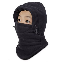 Children's Kids Balaclava Outdoor Hats Winter Warm Face Cover Cap (Black)