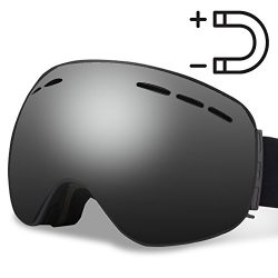 Homto Ski Goggles Anti-fog Magnetic Detachable Lens Anti-Slip Strap OTG Snow Goggles for Men Wom ...