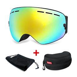 HAMSWAN Otg Ski Goggles, Snowboard Goggles Anti-fog UV400 Protection Detachable Double Lens Snow ...