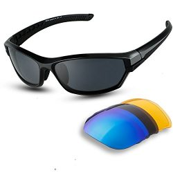 DUCO Polarised Sports Mens Sunglasses for Ski Driving Golf Running Cycling TR90 Super Light Fram ...
