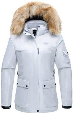 Wantdo Women's Hooded Waterproof Outdoor Winter Sports Parka Windproof Ski Jacket Beige US ...