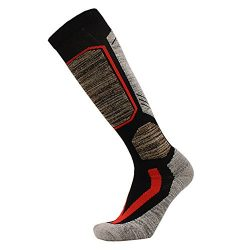 Outdoor Ski Socks,Cushioned Wicking Warm Knee High Snowboard Socks (US 9-US 12, Black)