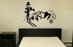 Mountain Skier Wall Decal Sticker Mural Snow Ski Cross Country Mountains Art Graphic