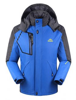 iLoveSIA Men's Mountain Waterproof Fleece Ski Jacket Windproof Rain Jacket Blue Size M